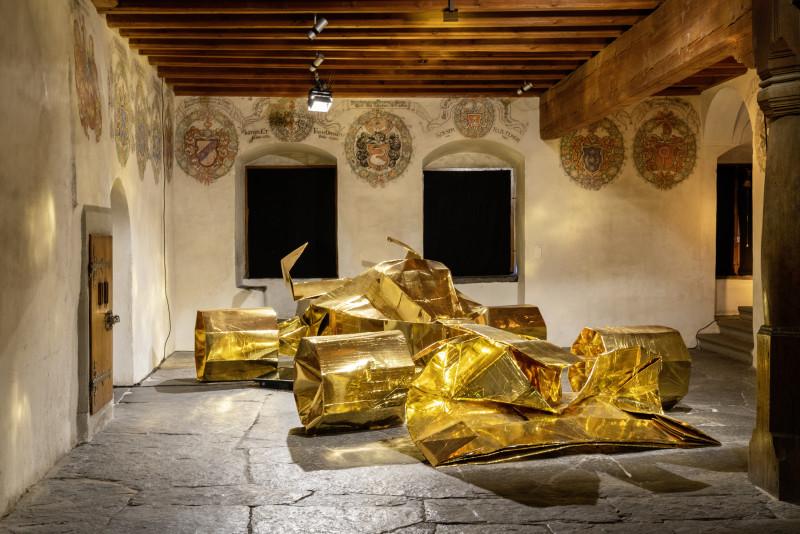 Werdenberg, St. Gallen, Schweiz, 13. Juni 2019 - Schlossmediale, Ausstellung.